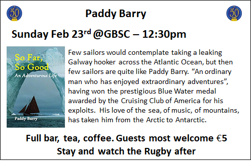 Paddy Barry Sunday Feb 23rd @ GBSC - 12:30pm