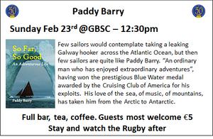 Paddy Barry Sunday Feb 23rd @ GBSC - 12:30pm