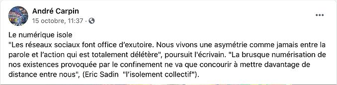 Commentaire Facebook André Carpin octobre 2020