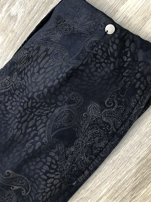 Robell Blue Paisley Faux Suede Trousers