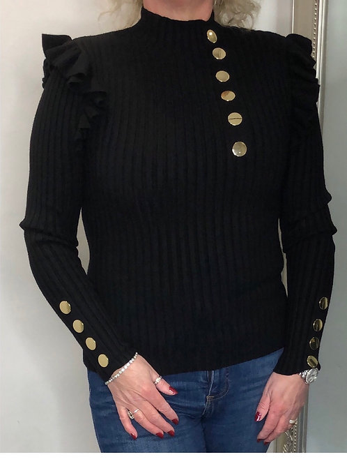Gold Button Frill top