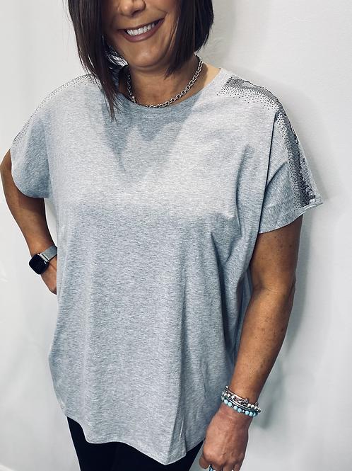 Diamanté Shoulder T Shirt