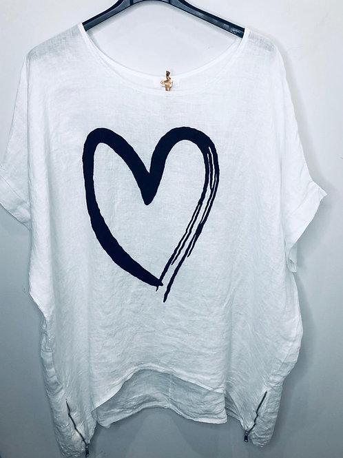 Long Heart Linen Top with Zips