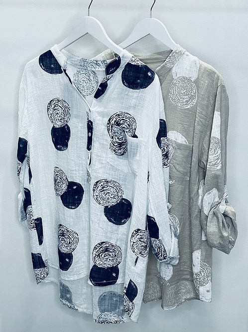 Circle Print Cotton Shirt