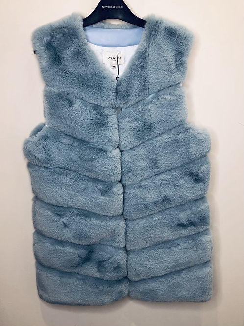 Pale Blue Faux Fur Gilet