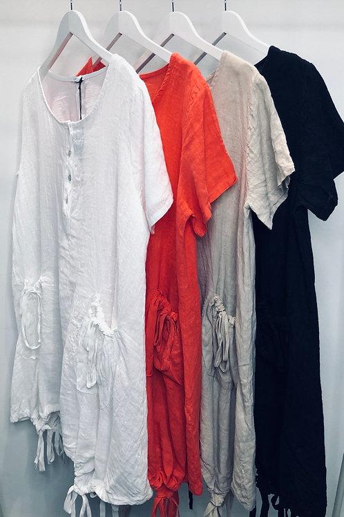 Longline Gathered Linen Tunic