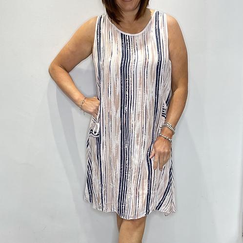 Stripe Pocket Tie Dress