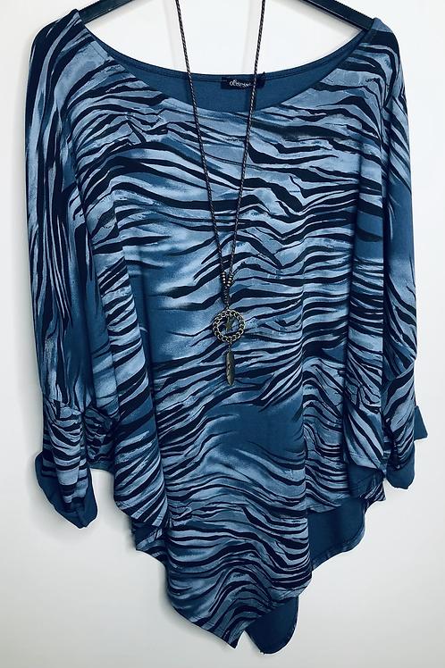 Blue Zebra Print Top
