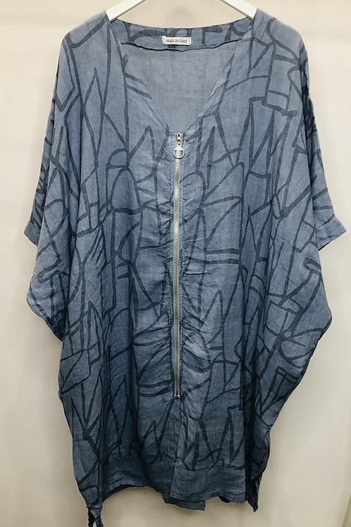 Long zipped Linen Top