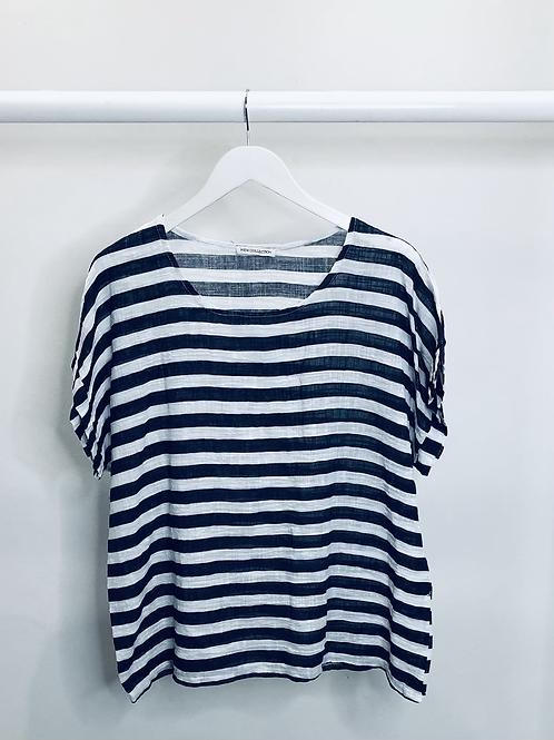 Navy/White Stripe Linen Top
