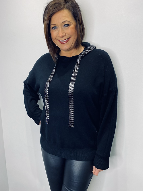 Diamanté Trim Hooded Top