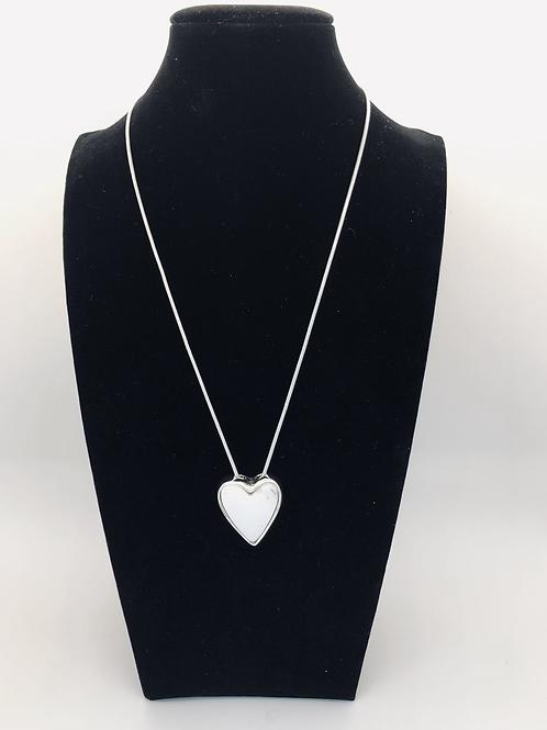 White Marble Effect Heart Pendant