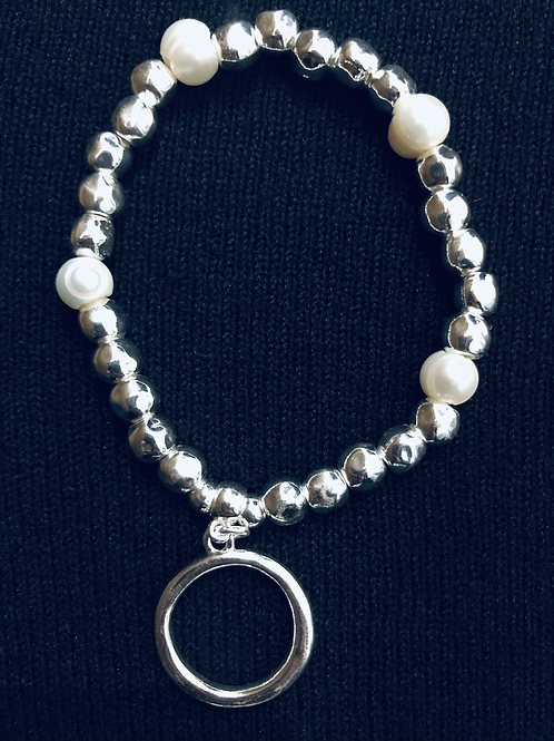 Faux Pearl and Hoop Bracelet