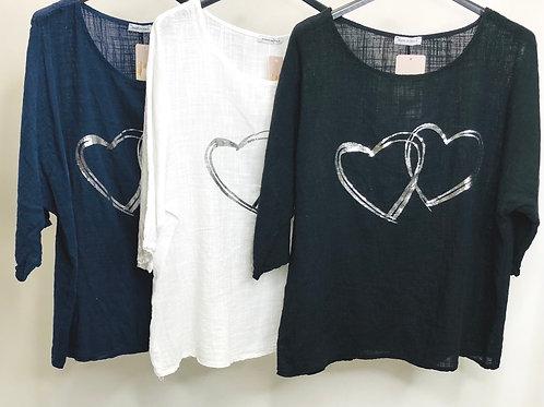 Silver Double Heart Linen Top