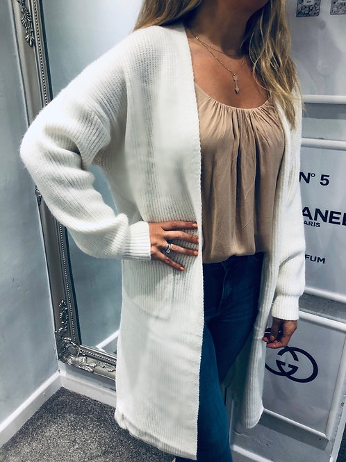 Long Knit Cream Cardigan