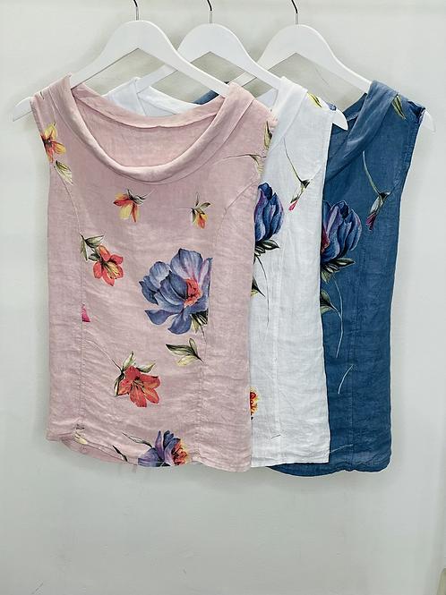 Flower Print Cowl Neck Top