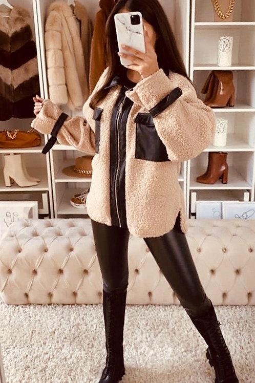 Fleece Faux Leather Combo Jacket