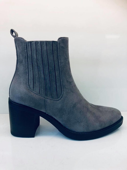 Grey Suede Point Ankle Boot
