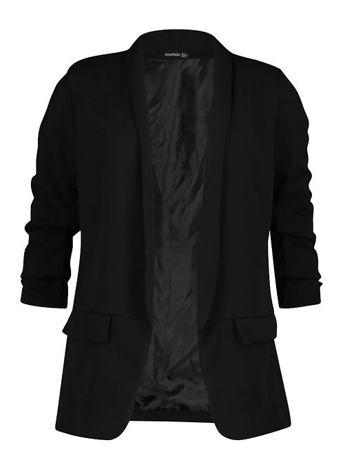 Rouched Sleeve Lightweight Blazer