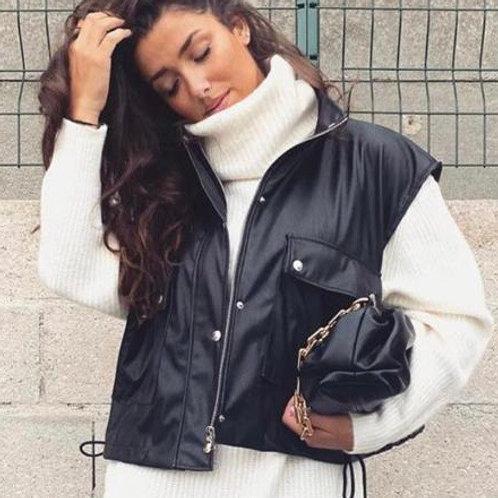 Faux Leather Sleeveless Jacket