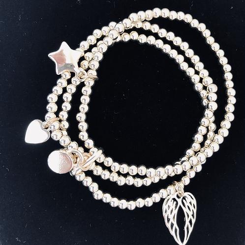 Triple Strand Charm Bracelet