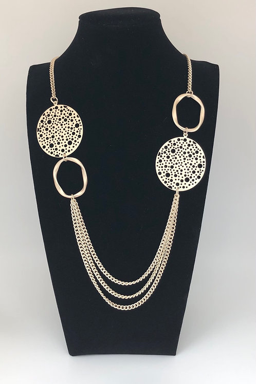 Gold Tone Disc Necklace