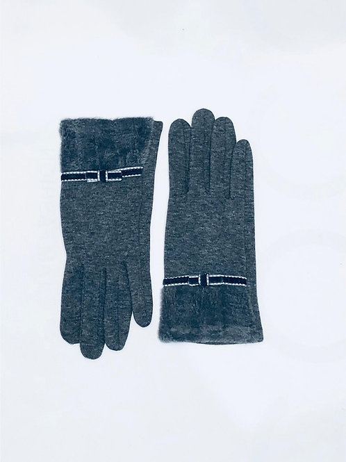 Grey Bow Detailed Glove