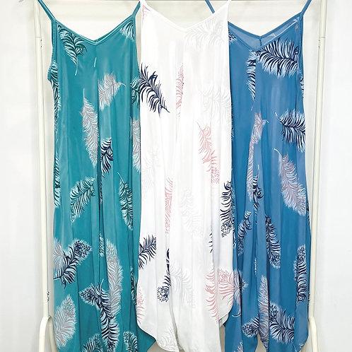 Harem Jumpsuit - Feather Print