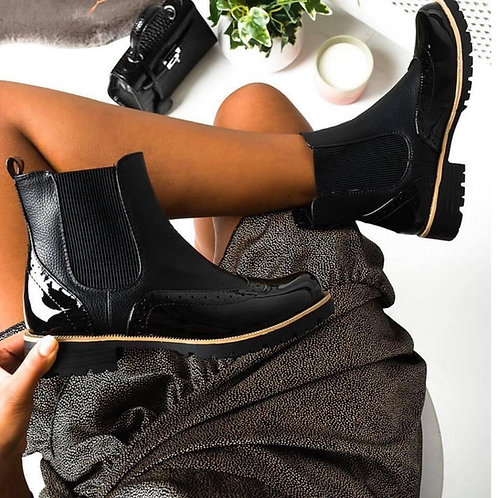 Patent Brogue Ankle Boots