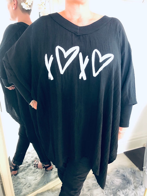Heart And Kiss Oversized Tunic