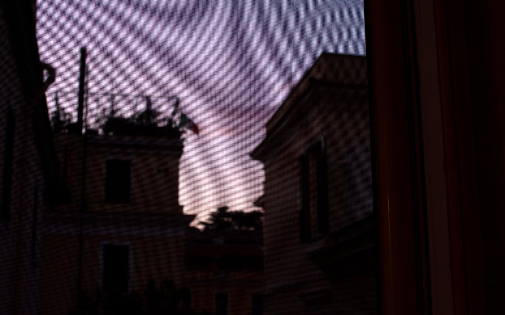 Purple Italian sunset from the living room, Rome IT, September 2020.