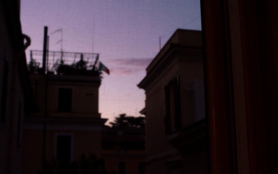 Purple Italian sunset from the living room, Rome IT, September 2020.