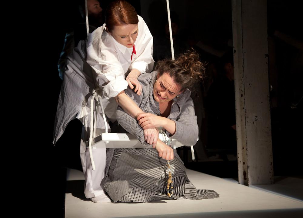 Belinda Prakhoff (guest artist) & Agathe de Courcy (Studio Artist, France) in BRITTEN'S CURLEW RIVER 45 Downstairs Dir. Linda Thompson Des. Peter Corrigan