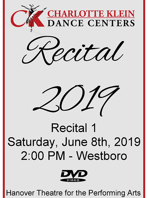 CKDC Recital 1 DVD - Sat., 6/8/19 - 2PM  - Shipping Included