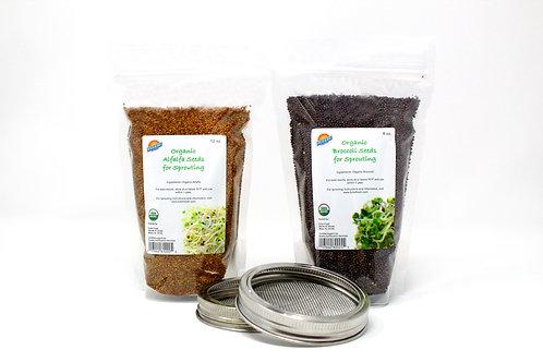 Organic Alfalfa & Organic Broccoli plus 2 sprouting lids