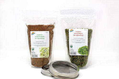 Organic Alfalfa & Organic Mung Beans plus 2 sprouting lids