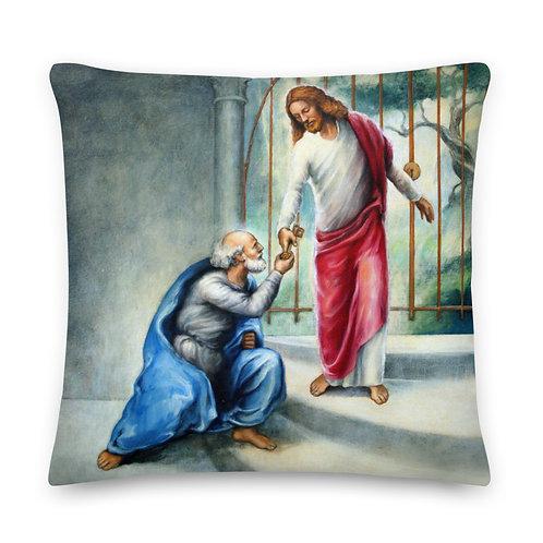 Dark Cerulean Back - 22 inch Keys To The Kingdom Throw Pillow