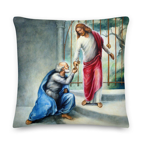 Both Sides - 19 inch Keys To The Kingdom Throw Pillow
