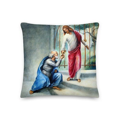 Dark Cerulean Back - 19 inch Keys To The Kingdom Throw Pillow