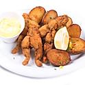 Békacomb rántva (4 db) héjában sült burgonyával, fokhagymás majonézzel