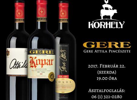 Gere Attila borvacsora - 2017.02.22. (szerda) 19.00 órától