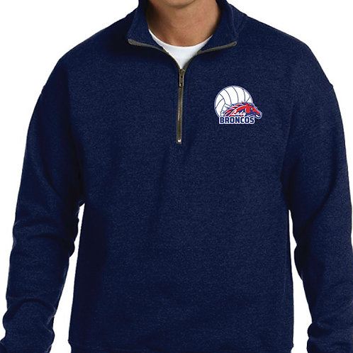 Navy Quarter Zip Pullover w/ Embroidery