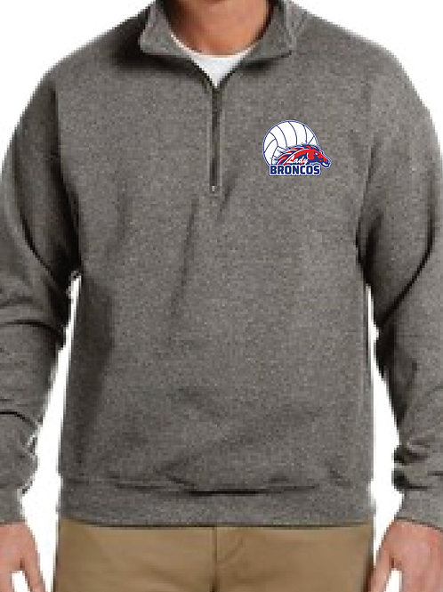 Grey Quarter Zip Pullover w/Embroidery