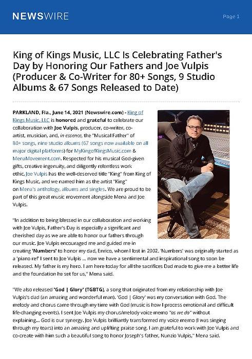 King of Kings Music Press release 61421  Joe Vulpis #JoeVulpis #king #Menamovement #kingof
