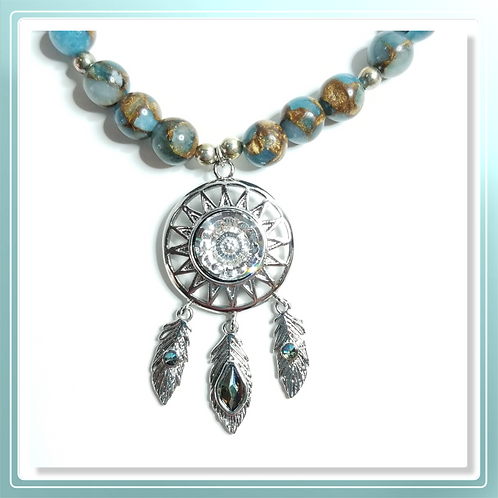 Goldblue Quartz Necklace with Dream Catcher