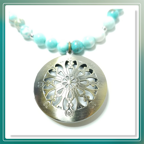 Blue Larimar Bead Necklace with Diffuser Pendant