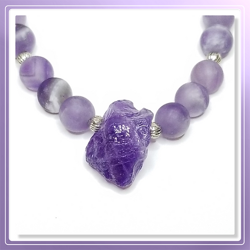 Amethyst Matte Beads and Organic Nugget Pendant