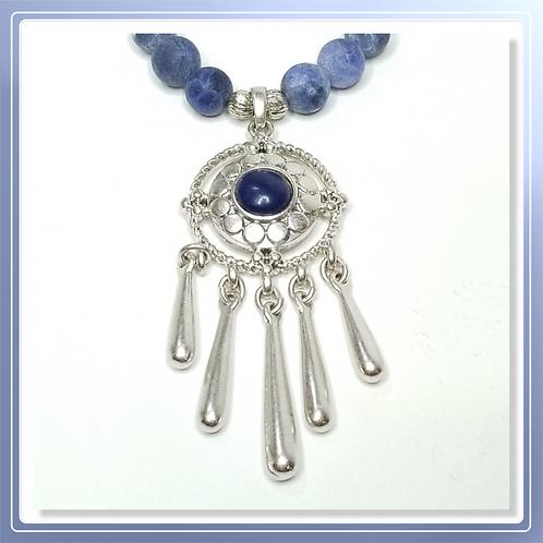 Dumortierite Quartz bead Necklace with Dream Catcher pendant