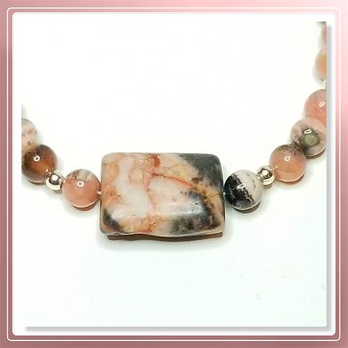 Rhodochrosite Bead Necklace with Pendant