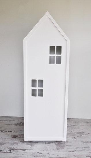 Regał z drzwiami i szufladami biały 150/45/40 cm
